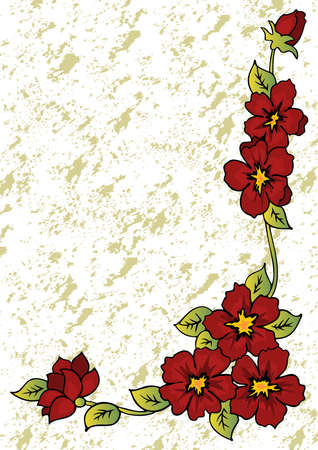 Illustration of abstract floral corner with grunge background