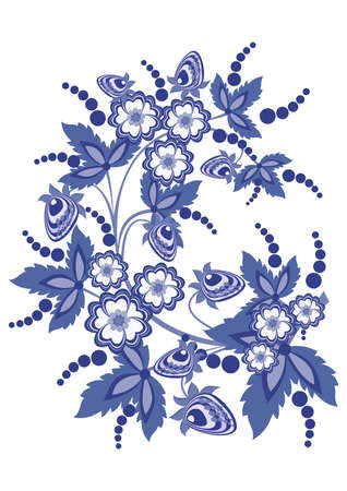 Illustration of abstract floral branch with strawberries in blue colours Vector