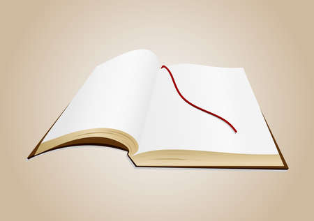 Illustration of open book with blank pages and background Vector