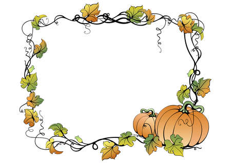 Illustration of abstract pumpkins and leaves in frame Vector