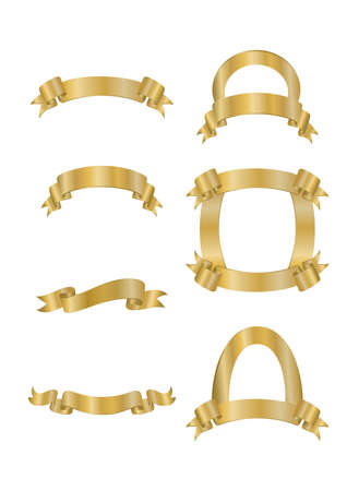 Illustration of abstract ribbon collection in golden colours