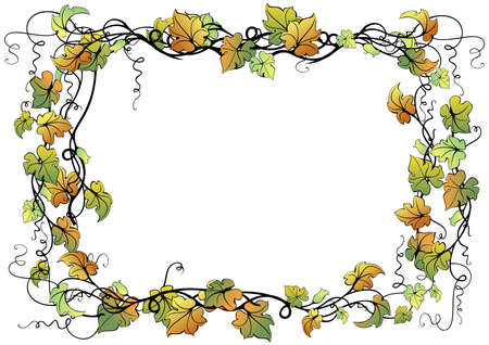 Illustration of abstract floral frame isolated Vector