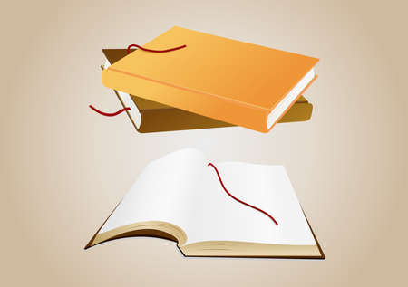 Illustration of open book with blank pages and pile of books