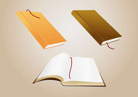 Illustration of open book with blank pages and two closed books illustration