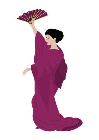harmonous: Illustration of beautiful woman in kimono isolated
