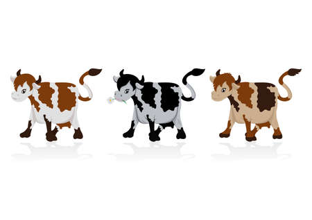 Illustration of abstract cow collection in black and brown colours