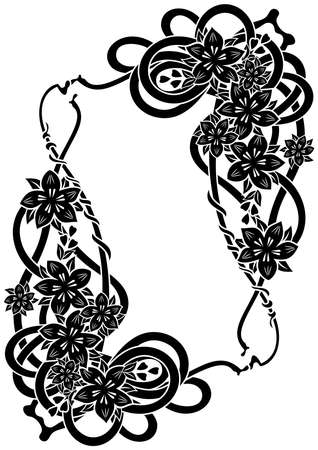 liane: Illustration of abstract floral black frame isolated Illustration