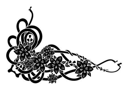 liane: Illustration of abstract floral black corner isolated Illustration
