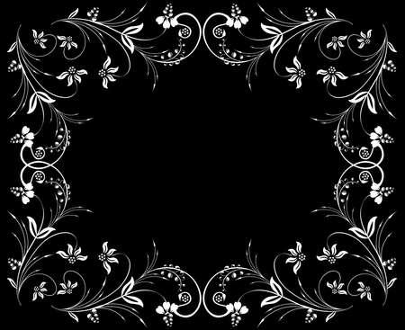 Illustration of abstract white floral frame on black background