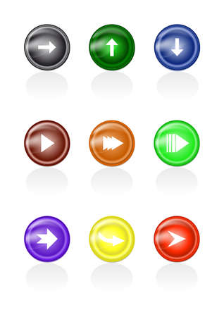 Illustration of set of abstract colorful arrow glass buttons Illustration