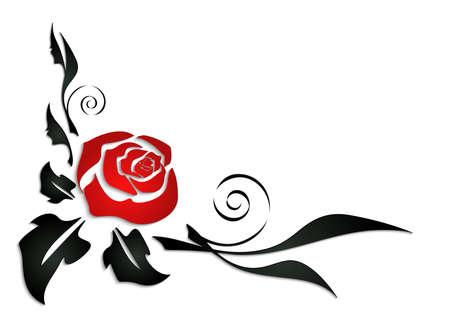 Illustratie van abstracte roos hoek met zwarte bladeren Stock Illustratie