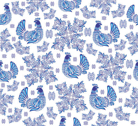 sitter: Illustration of abstract seamless background with gzhel birds and ornament Illustration