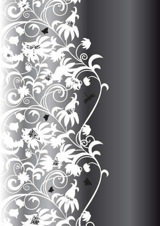 Illustration of abstract white floral ornament on black background