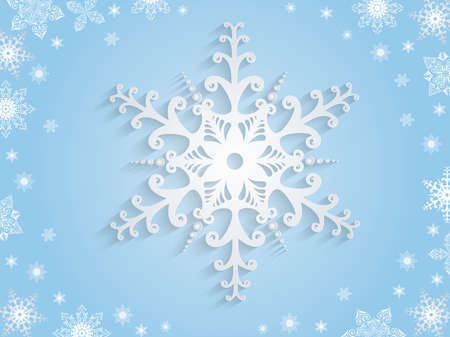 Illustration of snowflake background in blue and white colors Illustration