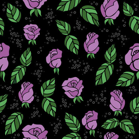Illustration of seamless  background with roses and leaves Vector