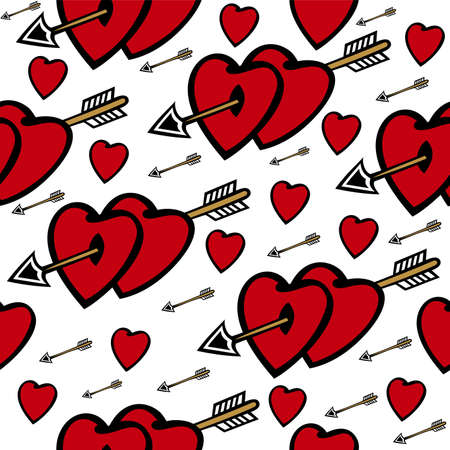 Illustration of seamless  background with hearts and arrows Illustration