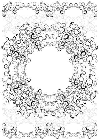 Illustration of abstract floral frame in black and grey colors Illustration
