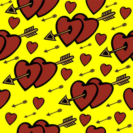 Illustration of seamless  background with hearts and arrows Vector