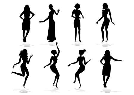 female silhouette: Illustration of female silhouette set isolated Illustration