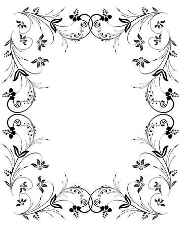 Illustration of abstract  floral frame in black color isolated
