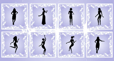 Illustration of female silhouettes on square grunge background  Vector