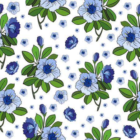 Illustration of seamless abstract floral background in blue and green colors isolated Illustration