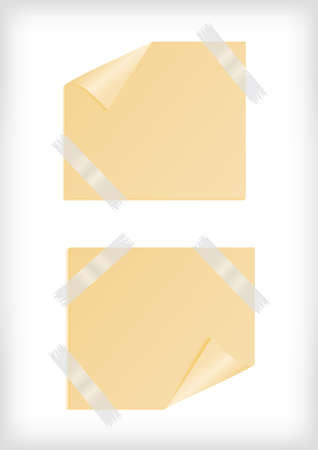 Illustration yellow stickers with curled corner, scotch tape and background Vector