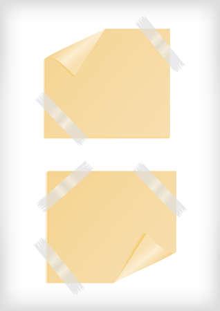 scotch: Ilustracja żółte naklejki z zawinięty róg, taśma klejąca i tła