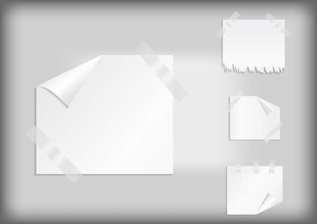 Illustration of white stickers with curled corner, torn border and scotch tape
