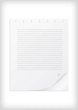 prompt: Illustration of white lined paper with curled corner and background