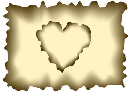 Illustration of burnt heart shaped sheet of paper