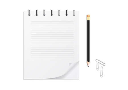 Illustration of notebook on a spring with lined paper, pencil with eraser and clips isolated Illustration
