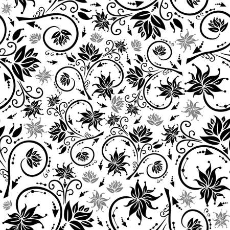 Illustration of seamless floral background in black and grey colours Illustration