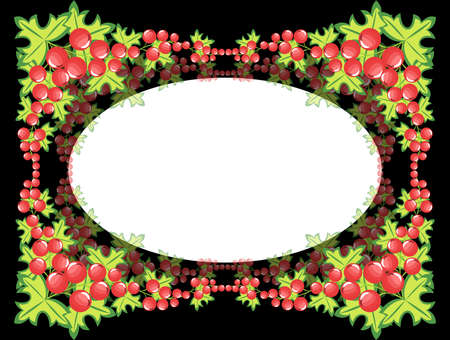 Illustration of frame from abstract berries with black background