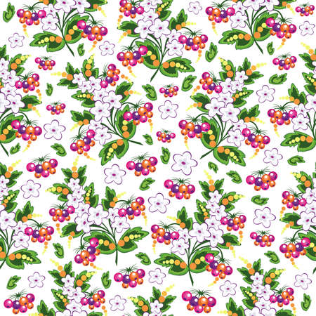 Illustration of seamless  background with flowers and berries isolated