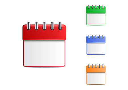detachable: Illustration of colorful engagement calendar set on a spring with blank sheet isolated Illustration