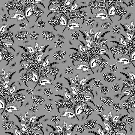 Illustration of seamless floral background in black and white colours