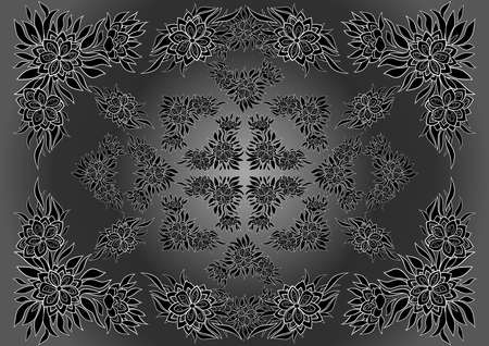 Illustration of frame from abstract flowers with background in black, white and grey colors