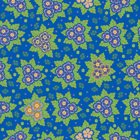 Illustration of seamless floral background in lilac, blue, orange and green colours Illustration