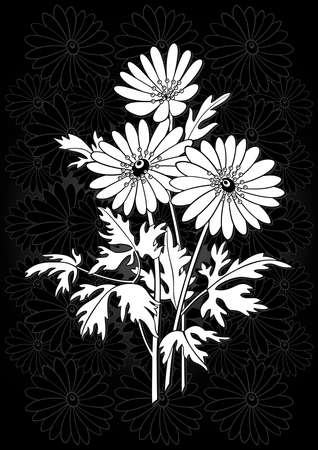 Illustration of abstract flowers branch with floral background