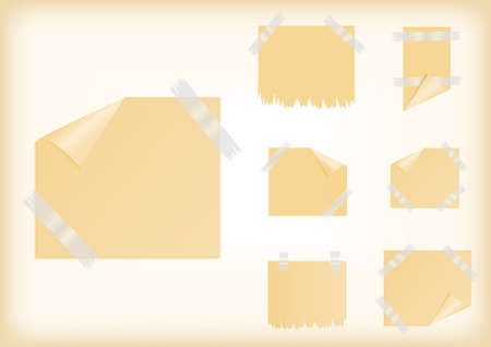 scotch tape: Illustration of yellow stickers with curled corner, scotch tape and background