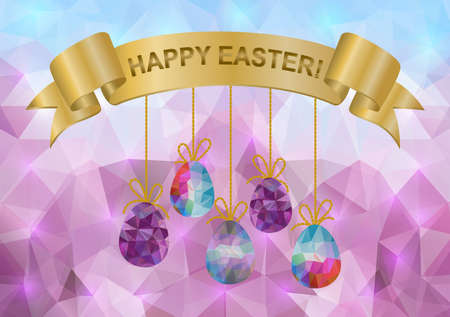 Illustration of easter triangle with eggs and ribbon banner Vector