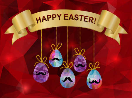 Illustration of easter triangle background with eggs and ribbon banner Vector