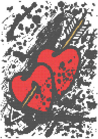 Illustration of two mosaic hearts pierced with an arrow on grunge  Vector