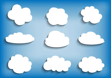 Illustration of paper clouds collection on blue  Illustration