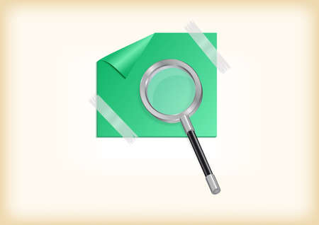 scotch tape: Illustration of magnifying glass with green sticker and scotch tape Illustration
