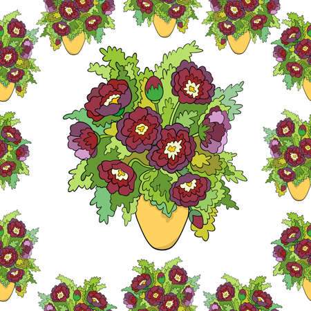 Illustration of seamless from abstract flowers in vase  Illustration