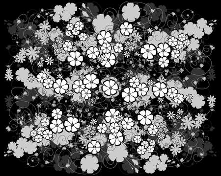 liane: Illustration of abstract floral in black, white and grey colors