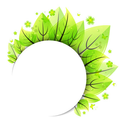 Illustration of abstract bunch of green leaves with white empty banner isolated Illustration