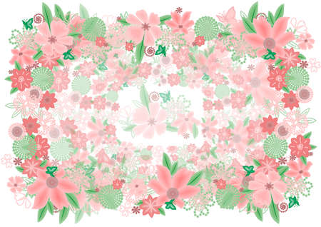 Illustration of abstract background with flowers and butterflies